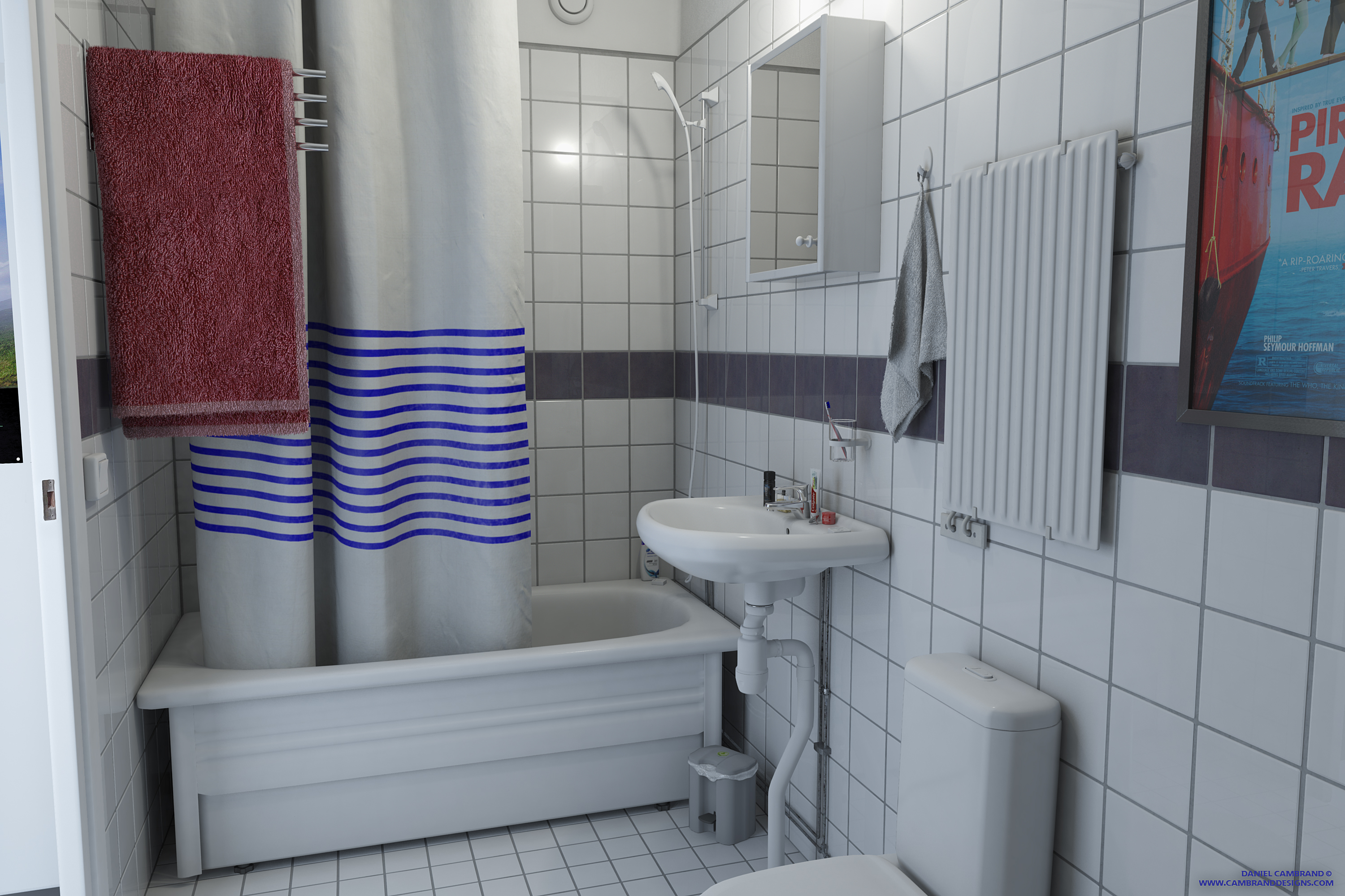Neat bathroom 3d interior portfolio cambrand designs for 3d bathroom design