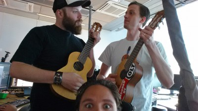 Battlefield 4 development - World Builder Christian and Art Director Mattias serenading me.